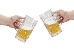 Cheers. Toast with two mugs of beer (clipping path included Royalty Free Stock Image