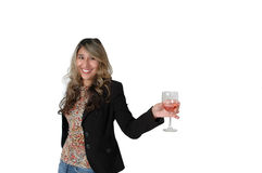 Cheers. Mexican woman isolated on white background. Woman holding a glass of wine in her hand and looking up like she is chatting with someone. Business woman Royalty Free Stock Photos