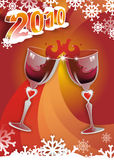 Cheers for 2010!. Vector illustration for 2010 with two glasses of wine and snow Stock Image