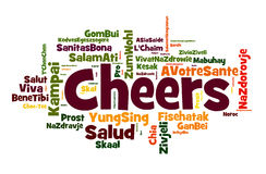 Cheers. A cloud of words of the word cheers, or a toast of good wishes in different languages, with the more widely spoken translation in bigger fonts Stock Photography