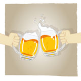 Cheers vector. Illustration of two hands holding glass of foamy beer + vector eps file Stock Photography