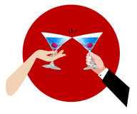 Cheers. Couples toasting fot celebration, vector, illustration Royalty Free Stock Photos