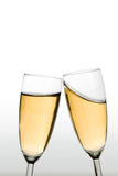 Cheers. Glasses of champagne clinking. Gradient background from light grey to pure white royalty free stock photos