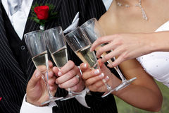 Cheers. People drinking champagne with wedding couple Royalty Free Stock Image