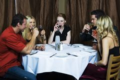 Cheers!. A group of young friends having a drink in the restaurant Stock Images