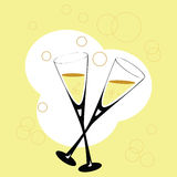 Cheers. Stylish illustration of two flute glasses with champagne Stock Images