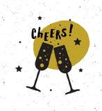 cheers Affiche de lettrage illustration stock