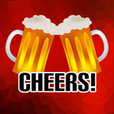 Cheers banner with two tasty beers abstract low polygon background eps10 Royalty Free Stock Photo