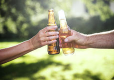 Cheers Beer Alcohol Celebration Outdoors Toast Concept Stock Images