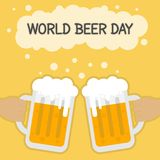 World Beer Day, August. Cheers with beer mugs conceptual illustration Royalty Free Stock Photography