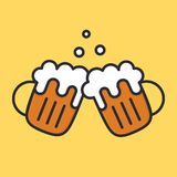 Cheers beer mugs with froth and bubbles. Cartoon alcohol icon. Vector flat illustation. Cheers beer mugs with froth and bubbles. Cartoon alcohol icon. Vector Stock Photography