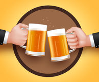 Cheers Beer of Two Man Holding Mug for Toast of Celebration Royalty Free Stock Photos