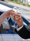 Cheers bride and groom. Bride and groom clink glasses in cheers Stock Photography