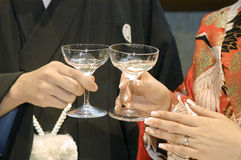 Cheers. Bride of hand, toast glass Royalty Free Stock Photography
