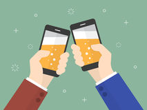 Cheers. Business people holding smartphone with beer on the screen Royalty Free Stock Image