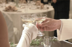 Cheers. Ceremony at wedding reception Stock Images
