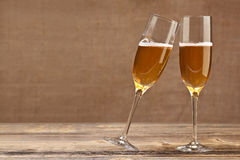 Cheers concept. Two champagne glasses Royalty Free Stock Image