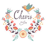 Cheers concept card. Cheers  stylish concept card. Romantic vintage style floral card. Vector illustration Royalty Free Stock Photos