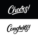 Cheers and Congrats hand written lettering for greeting card, invitation, poster and print. Modern brush calligraphy. Isolated on background. Vector Stock Photos