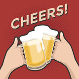 Cheers and a couple of beers vintage retro style. Vector Royalty Free Stock Images