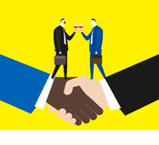 Cheers for the deal. Two partners cheers for a deal Stock Photo