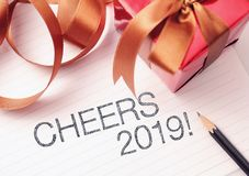 Cheers 2019 with deroration. We wish you a new year filled with wonder, peace, and meaning stock photos