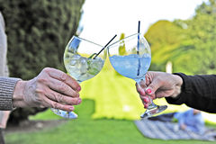 Cheers - drinking gin with balloon glasses. Two people say cheers with their gin glasses Stock Photography