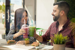 Cheers for eating healthy Stock Photos