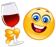 Cheers emoticon. Cheerful emoticon making a toast stock illustration