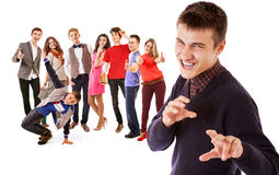 Cheers ! We are finished school : group of smiling young people Stock Images