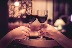 Cheers with glasses of red wine Royalty Free Stock Photos