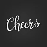 Cheers hand-drawn lettering decoration text on black background. Design template for greeting cards, invitations. Banners, gifts, prints and posters Royalty Free Stock Photography