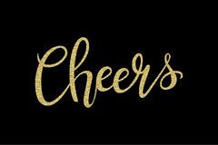 Cheers Hand-drawn Lettering Decoration Text With Gold Sparkles On Black Background. Design Template For Greeting Cards Royalty Free Stock Image