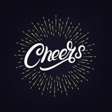 Cheers hand written lettering. With festive firework or confetti explosion. Retro label with golden burst or light rays. Modern brush calligraphy for greeting Royalty Free Stock Photos