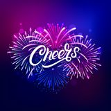 Cheers hand written lettering text. With colorful fireworks and celebration background. Modern brush calligraphy for greeting card, poster. Vector illustration Stock Images