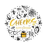Cheers. Happy Birthday. Calligraphy greeting card with golden gi royalty free illustration