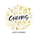 cheers Joyeux anniversaire Carte de voeux de calligraphie avec le gi d'or illustration stock