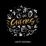 cheers Joyeux anniversaire Carte de voeux d'or de calligraphie avec le gi illustration stock
