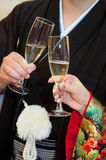 Cheers. Kimono marriage, firm toast glass of Royalty Free Stock Image