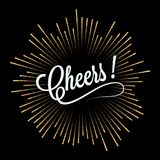 Cheers lettering golden light design background Royalty Free Stock Images