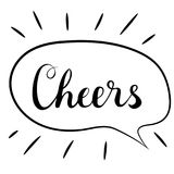 Cheers lettering. Handwritten brush calligraphy. Cheers text in a speech bubble. Vector illustration on a white. Stock Photography
