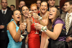 Cheers mate. Five smiled girls are making cheers mate on the party royalty free stock photography