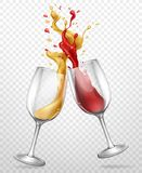 Glass goblets with splashing wine realistic vector. Cheers realistic vector concept with red and white wine splashing, spilling from clinking glass wineglasses stock illustration