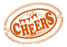 Cheers rubber stamp. Rubber stamp with cheers greeting. One color, place for your text on the outskirts Royalty Free Stock Photography