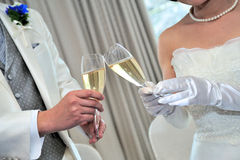 Cheers. Scene, listened to the bride and groom a matching toast speech, good wins to think forever of future mood Royalty Free Stock Photography