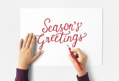 Cheers Seasons Greeting hand writing Royalty Free Stock Images