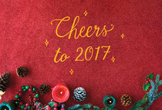 Cheers Seasons Greeting New Year 2017 Concept stock photography