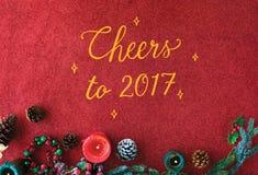 Cheers Seasons Greeting New Year 2017 Concept stock photo