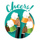 Cheers St. Patrick's Day toasting hands party poster. Stock Photo