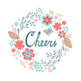 Cheers stylish concept card. Romantic vintage style floral card. Vector illustration Royalty Free Stock Photography